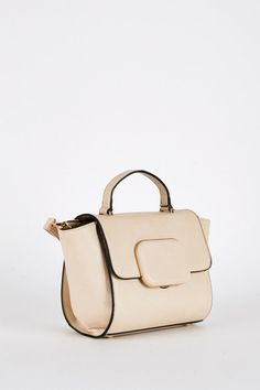 Beige Mini Handbag with Block Clasp Detail