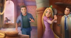 Disney and Supernatural. Castiel, Dean and Rapunzel. Supernatural Imagines, Supernatural Fan Art, Supernatural Disney, Supernatural Crossover, Supernatural Bunker, Supernatural Drawings, Supernatural Bloopers, Supernatural Wallpaper, Castiel