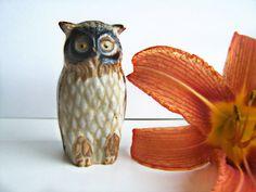 Vintage Stoneware Owl Figurine Glazed Earthenware by papercherries