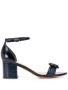 Alexandre Birman Vicky Block 60 Sandals In Blue Alexandre Birman, Blue Sandals, Block Heels, Ankle Strap, Women Wear, Leather, Fashion Design, Knot, Detail