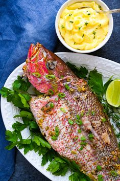The best Caribbean fish recipes are the simplest. This grilled yellowtail snapper recipe has a spicy West Indies marinade. The easy aioli is garlicky YUM! #grilledsnapper #grilledsnapperrecipes #aiolirecipes Grilled Fish Marinade, Grilled Snapper Recipes, Best Seafood Recipes, Healthy Recipes, Healthy Meals, Caribbean Fish Recipe, Yellowtail Snapper Recipe, Whole Fish Recipes, Fish Casserole