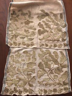 Antique Ottoman-Turkish Heavily Gold Metallic Hand Embroidered Double Sash