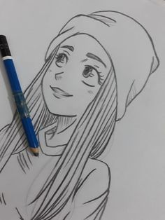 best cute drawings, anime drawings, flower drawing of techniques, great examples of Drawings. Girl Drawing Sketches, Girly Drawings, Cool Art Drawings, Pencil Art Drawings, Drawing Art, Drawing Style, Comic Drawing, Cute Drawings Of Girls, Drawing Faces