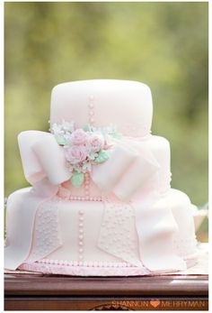 pink, bow, cake, bridal shower, dress, romantic, buttons, 3 tier