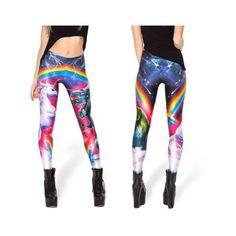 MyDerbyStuff Unicorn vs Robozilla ($15) ❤ liked on Polyvore featuring pants, leggings, black, women's clothing, unicorn pants, black leggings, womens trousers and women pants