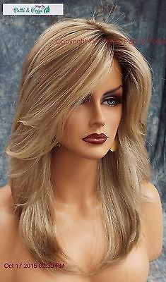 Best 12 Color Shown: Mackenzie – Synthetic Hair by Estetica Wigs are constructed with Front Lace Line. Front Lace Line / Below the Shoulder Layered Cut with Natural Flair & Side Swept Bangs. Once your hair is nice and safely tucked away, you're Brown Blonde Hair, Blonde Wig, Blonde Ombre, Blonde Color, Hair Color, Dark Blonde, Frontal Hairstyles, Wig Hairstyles, Hairstyle Ideas