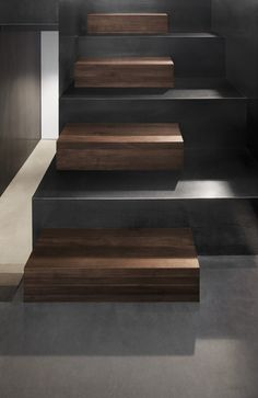 concrete and wood stairs
