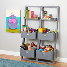 Little Sloane Leaning Bookcase (Grey) | The Land of Nod $149/each