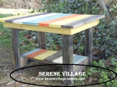 Colorful Solid Wood, Rustic Side Table, Reclaimed Wood, Patio, Cabin, Beach Cottage, Beach House on Etsy, $85.00
