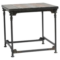 "HOME DECOR – FURNITURE – TABLE – END TABLE – Industrial-style reclaimed wood and metal end table with a planked top and rivet detail.  Product: End tableConstruction Material: Wood and metalColor: Distressed brownDimensions: 24"" H x 24"" W x 23"" D"