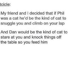 True-Dan Howell and Phil Lester as cats<< I mean it's accurate Phil Lester, Dan Howell, Markiplier, Phan Is Real, British Youtubers, Dan And Phill, Phil 3, Danisnotonfire And Amazingphil, Tyler Oakley