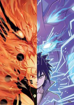 Naruto Uzumaki and Sasuke Uchiha - Anime Naruto Shippuden Sasuke, Naruto Kakashi, Anime Naruto, Naruto Sasuke Sakura, Otaku Anime, Sasunaru, Konoha Naruto, Sasuke Sharingan, Manga Anime