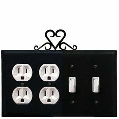 Heart - Double Outlet and Double Switch Cover by Village Wrought Iron. $18.32. Heart - Double Outlet and Double Switch CoverApprox. 8 1/4 In. W x 8 In. H Please allow 4 to 6 weeks for delivery.