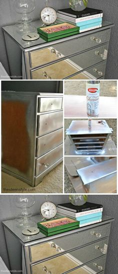Creative Simple DIY Mirrored Nightstand | DIY Mirrored Nightstand by DIY Ready at http://diyready.com/17-creative-and-cheap-diy-nightstands/