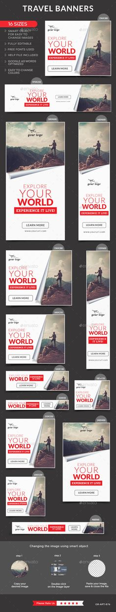 Travel Banners Template #design #ads Buy Now: http://graphicriver.net/item/travel-banners/12878539?ref=ksioks