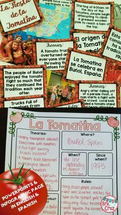 La Tomatina PowerPoint and Infographic  La Tomatina is the world's largest food fight! It is held in Buñol, Spain on the last Wednesday of August (August 31st this year!). Teach your students about this fun event with this 35-slide PowerPoint and infographic page.