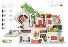 House plan 3 bedroom apartment, under 2000 square feet 3d House Plans, Small House Plans, 3 Bedroom Apartment, 3 Bedroom House, Futuristisches Design, Design Ideas, Interior Design, Colorful Apartment, Bedroom Floor Plans