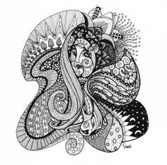 Zentangle #4 by Katrina Small. Love the illusion of the face obscurely resting in the folds of the tangle