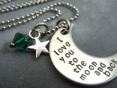 I love you to the moon and back moon hand by ajscustomjewelry