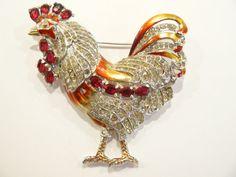 "Stunning 1942 Coro "" Rooster "" Enamel & Rhinestone Brooch Brunialti Bookpiece"