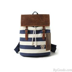 Navy Style Strip Fashion Canvas Backpack only $49.99 in ByGoods.com