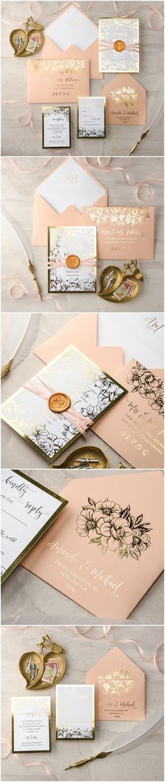 Gold Peach Wedding Invitations - gold foil printing, wax stamping #gold #peach #weddinginvitations #peach #gold