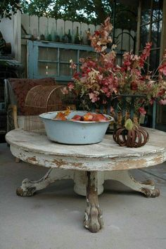 GOTTA DO THIS! Repurposed dining table, cut down to a coffee table