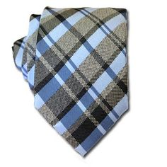 Sky Blue & Grey Tartan Tie