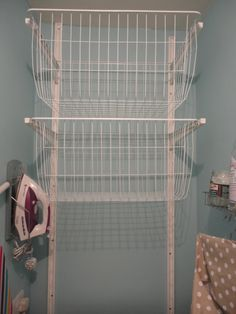 This is from the ALGOT range at IKEA, two wall rods and then the brackets with moveable arms with two baskets in the largest size. Laundry Cupboard, Laundry Room, Drying Room, Algot, Laundry Solutions, Skirting Boards, Tidy Up, Plastic Laundry Basket, Baskets