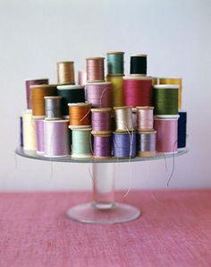 thread on a cake plate