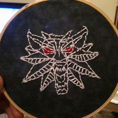 My girlfriend made me a pretty neat embroidery to hang up... #TheWitcher3 #PS4 #WILDHUNT #PS4share #games #gaming #TheWitcher #TheWitcher3WildHunt