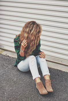 green plaid? yes please light wash denim and staple tan booties