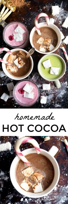 Homemade hot cocoa made with cocoa powder. Hot chocolate from scratch--3 versions! Raspberry white hot cocoa, matcha white hot chocolate, and homemade hot chocolate recipes!