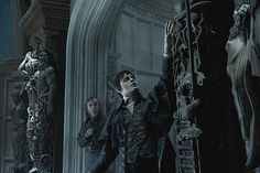 Three Dark Shadows Photos with Michelle Pfieffer as Elizabeth Collins Stoddard - Go inside Collinwood Manor with Johnny Depp, in Tim Burton's adaptation of the gothic 70s soap opera.
