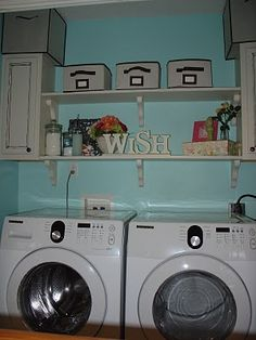 we have such a small laundry space, this idea would be perfect to spruce up the area and make it less of an eyesore