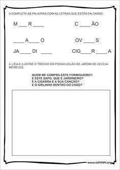 Atividades Consciência Fonológica Leilão de Jardim Cecília Meireles