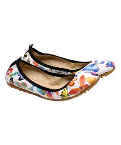 Another great find on #zulily! White Butterfly Foldable Ballet Flat &…