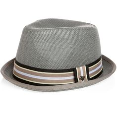 Accessories - Peter Grimm Gray Paper Fedora - Men's Wearhouse via Polyvore