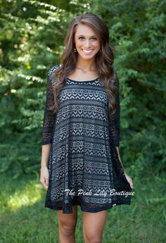 Feeling Flirty Black Lace Shift Dress!