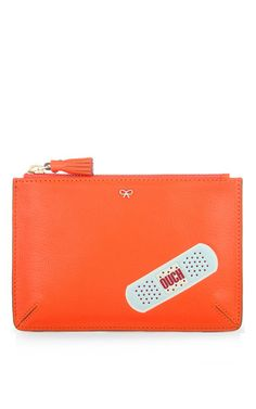 Small Ouch Loose Pocket in Clementine Capra with Light Blue Circus Leather by Anya Hindmarch for Preorder on Moda Operandi