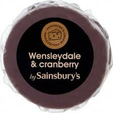 Wensleydale and cranberry Christmas special in a wax truckle from Sainsbury's.
