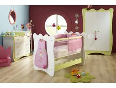 The baby bedroom from the Doudou collection in white/lime green color