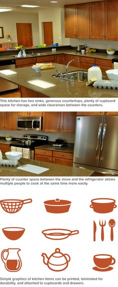 Consider configuring spaces so no more than two or at most three families must share a kitchen.