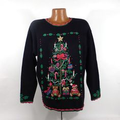 Ugly Christmas Sweater Vintage 1980s Tree  Holiday Tacky Xmas Party Women's size XL
