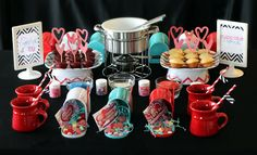 "I am ""fond""ue of you. A perfect valientines party idea. Cupcake fondue"