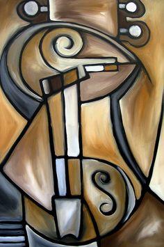 Strings - Original Cubist Art By Fidostudio Painting