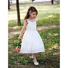 Princess Tea-length Flower Girl Dress - Satin Scoop with Lace – USD $ 39.99