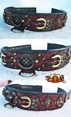 Cadarn collar:  This piece is leatherworked, lots of detailing into the leather with hand tooling, featuring unique leather pattern cutouts with the front buckles, and plenty of layering with the dyes to obtain a really rustic old world sense to antique the leather.  This piece represents the old world feel with the Celtic symbolism.  This collar can only really be appreciated in hand. The bordeaux image can be replaced with any breed.  Check out my site:  www.etsy.com/shop/olicollars