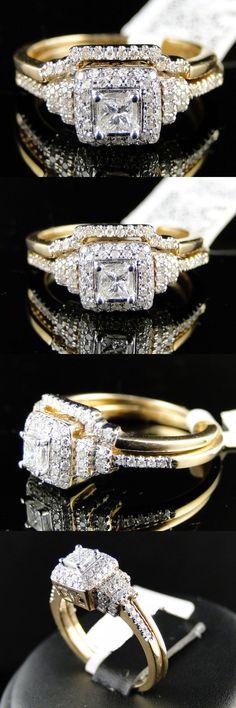 Wedding rings: 14K Womens Yellow Gold Princess Cut Diamond Engagement Wedding Bridal Ring Set -> BUY IT NOW ONLY: $130 on eBay!