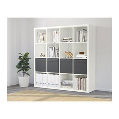 IKEA - KALLAX, Shelf unit with 8 inserts, white, Two people are needed to assemble this furniture. Use fasteners suitable for the walls in your home. Ikea Kallax Shelf Unit, Ikea Deco, Ikea Kallax Regal, Plastic Shelves, Ikea Family, Minimalist Home Decor, Cube Storage, Storage Organizers, Home Organization